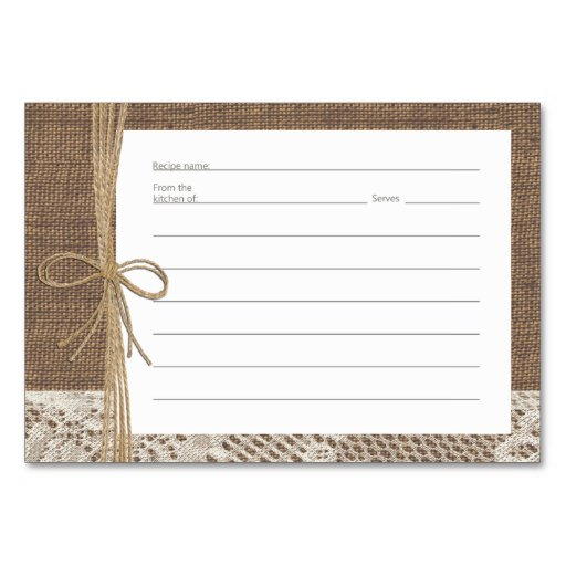 Burlap Lace and Rope Recipe Cards Table Card