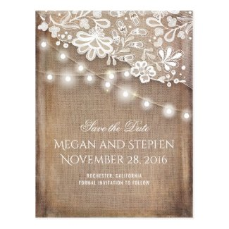Burlap Lace and String Lights Rustic Save the Date Postcard