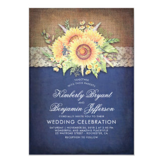 Burlap Lace and Sunflower Navy Rustic Fall Wedding Card
