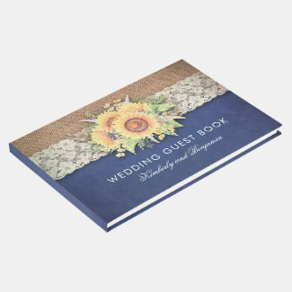 Burlap and Lace Rustic Sunflower Navy Blue Wedding Guest Book