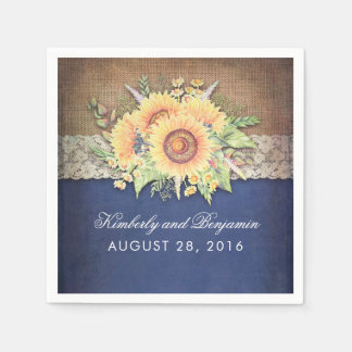Burlap Lace and Sunflower Navy Rustic Fall Wedding Napkin