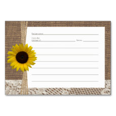 Burlap Lace and Sunflower Recipe Cards