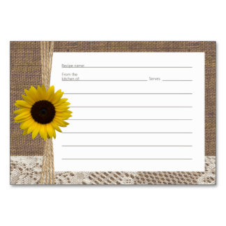Burlap Lace and Sunflower Recipe Cards Table Card