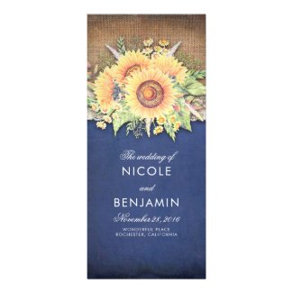 Burlap and Lace Rustic Sunflower Navy Blue Wedding Programs