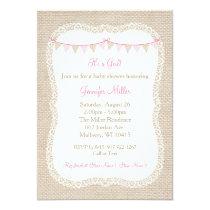 Burlap & Lace Baby Shower Card