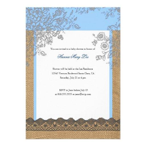 burlap lace baby shower invitation zazzle