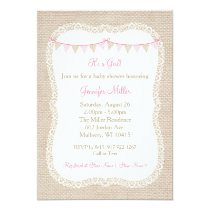 Burlap & Lace Baby Shower Invitations