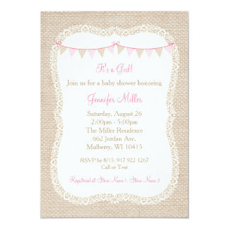 burlap and lace baby shower invitations announcements zazzle