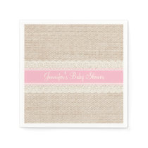 Burlap & Lace Baby Shower Napkins
