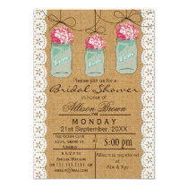 Burlap lace blue mason jar rustic bridal shower card