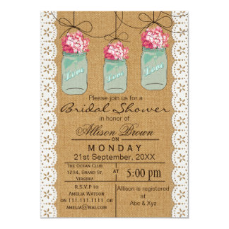 Burlap lace blue mason jar rustic bridal shower 5x7 paper invitation card