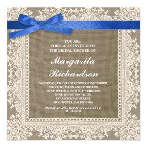 burlap lace & blue ribbon bridal shower invites