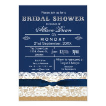 Burlap , lace,blue rustic bridal shower Invites