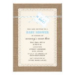 Burlap Lace & Blue Twine Inspired Baby Shower Custom Invitations