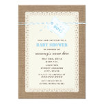 """Burlap Lace & Blue Twine Inspired Baby Shower 5"""" X 7"""" Invitation Card"""