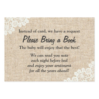 Burlap & Lace Bring a Book Baby Shower Insert Large Business Cards (Pack Of 100)