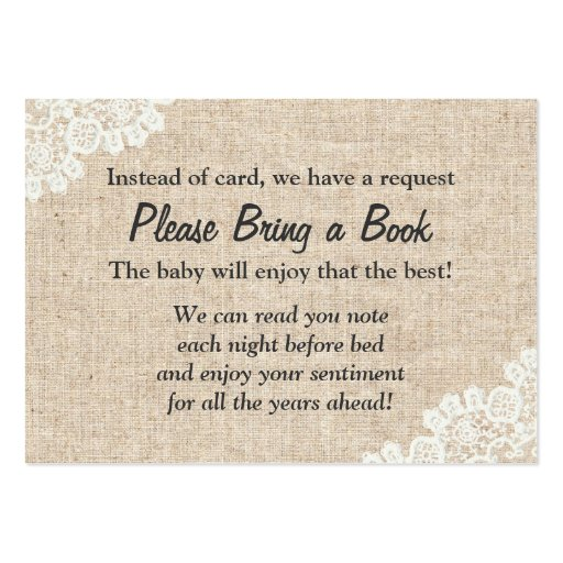 burlap lace bring a book baby shower insert large business cards
