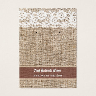 Burlap Lace Custom Earring Card
