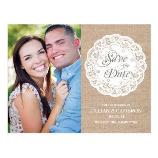 Burlap Lace Doily Save the Date Postcard