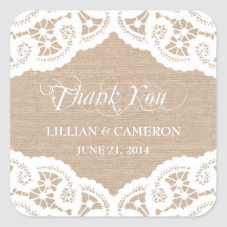 Burlap Lace Doily Thank You Name Stickers Stickers