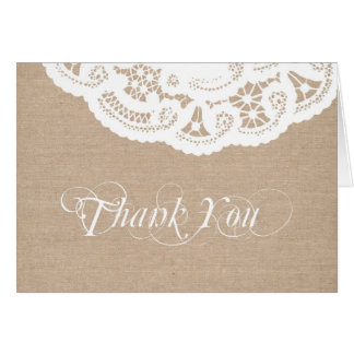 Burlap Lace Doily Thank You Note Card