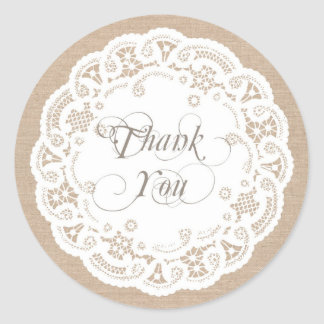 Burlap Lace Doily Thank You Stickers Round Stickers
