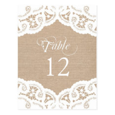 Burlap Lace Doily Wedding Table Number Table Cards at Zazzle