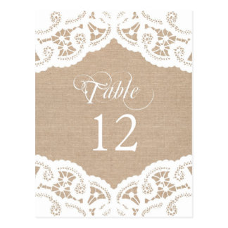 Burlap Lace Doily Wedding Table Number Table Cards