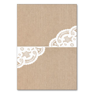 Burlap Lace Doily Wedding Table Place Cards Table Card