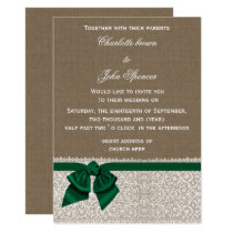 burlap lace emerald wedding card