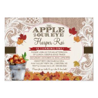 Burlap & Lace Fall Apple Birthday Party Invitation