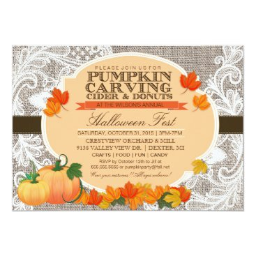 PrettyInviting Burlap & Lace Fall Pumpkin Carving Halloween Party Card