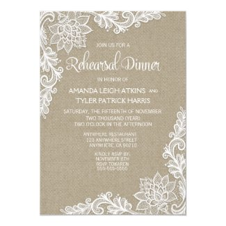 Burlap & Lace Floral Rehearsal Dinner Invitations