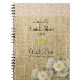 Burlap Lace Flowers Bridal Shower Guest Book- Notebook