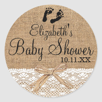 Burlap Lace Footprints Baby Shower Guest Favor Classic Round Sticker