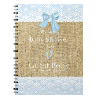 Burlap Lace Image Blue Bow Baby Shower Guest Book- Note Book