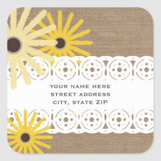 Burlap Lace Inspired Black Eyed Susans Address Square Stickers