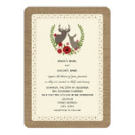 Burlap + Lace Inspired Christmas Wedding Deer 5x7 Paper Invitation Card