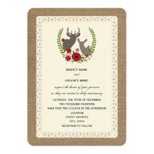 Burlap Lace Inspired Christmas Wedding Deer Custom Invites