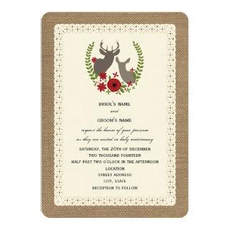 Burlap   Lace Inspired Christmas Wedding Deer Invitation