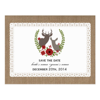 Burlap + Lace Inspired Deer Christmas Save Date Postcards