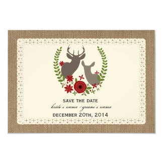 Burlap Lace Inspired Deer Christmas Save The Date Personalized Invites
