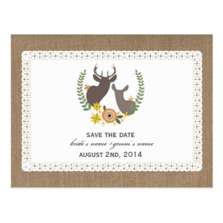 Burlap + Lace Inspired Fall Deer Save The Date Postcard