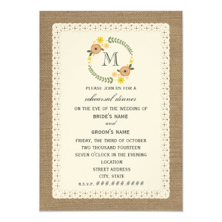 Burlap & Lace Inspired Fall Rehearsal Dinner 5x7 Paper Invitation Card