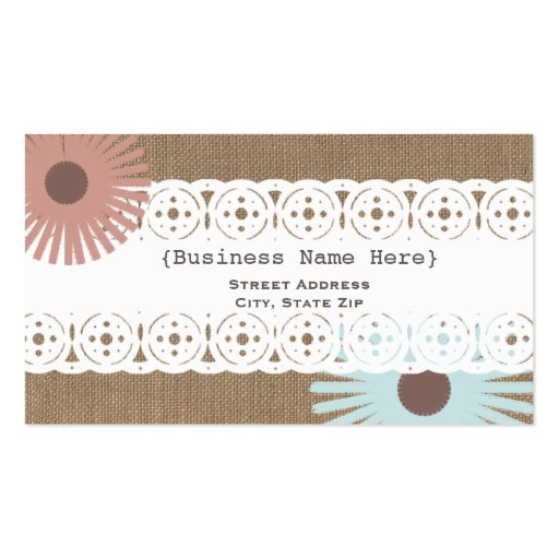 Burlap lace inspired floral generic business card for Generic business cards