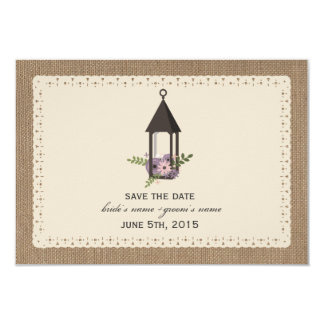 Burlap Lace Inspired Floral Lantern Save The Date 3.5x5 Paper Invitation Card