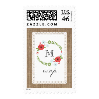 Burlap Lace Inspired Floral Wreath R S V P Postage Stamp