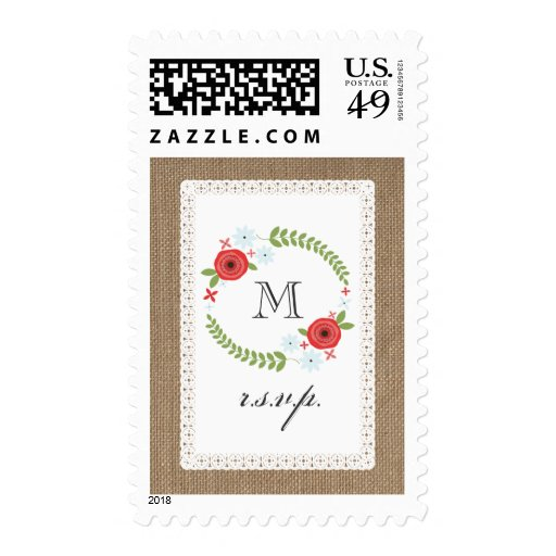 Burlap & Lace Inspired Floral Wreath R.S.V.P. Postage Stamp