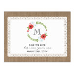 Burlap & Lace Inspired Floral Wreath Save The Date Postcard
