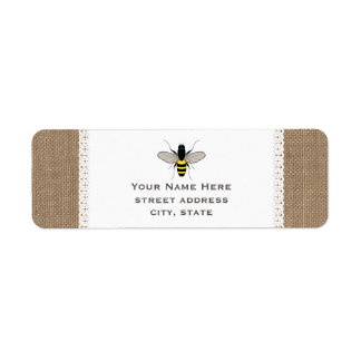 Burlap & Lace Inspired Honey Bee Address Label